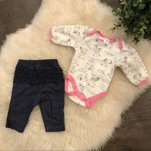 4/$20 ruffled jeggings & long sleeve onesie set
